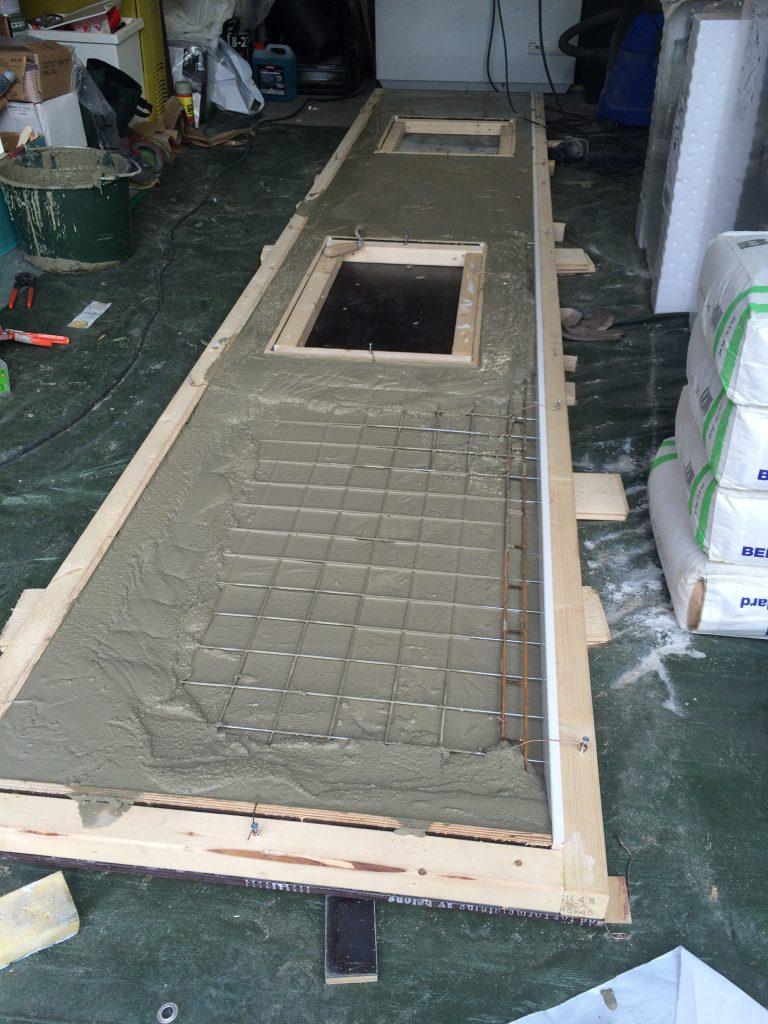 Gjutning av drygt 3 meter bänkskiva